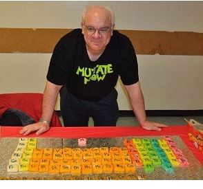 David, with his periodic table disp;ay